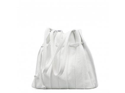 Kožená plisovaná kabelka Clara bílá