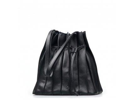 Kožená plisovaná kabelka Clara černá