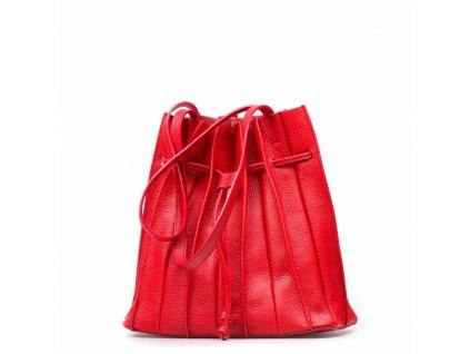 Kožená plisovaná kabelka Clara červená