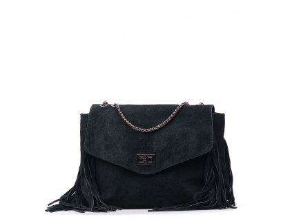 Kožená kabelka Sandra se střapci černá