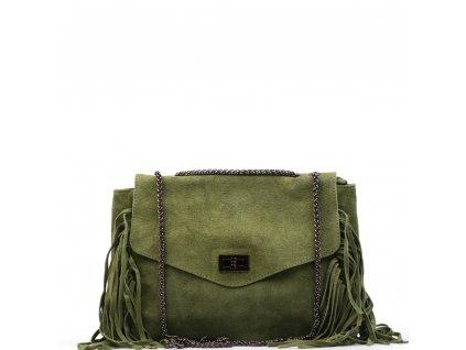Kožená kabelka Sandra se střapci olivově zelená