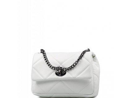 Kožená prošívaná kabelka Monia bílá