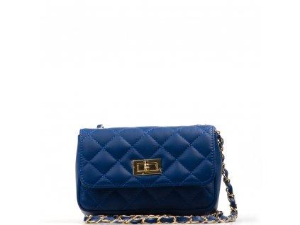 Kožená prošívaná kabelka Flo modrá