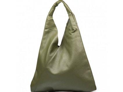 Kožená maxi kabelka Carla olivově zelená