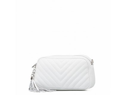 Kožená prošívaná kabelka Nina bílá