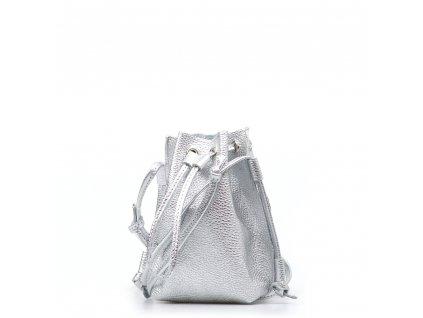 Kožená kabelka Ofelie stříbrná