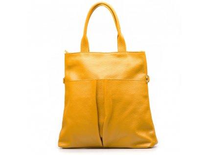 Kožená kabelka Brunella hořčicově žlutá
