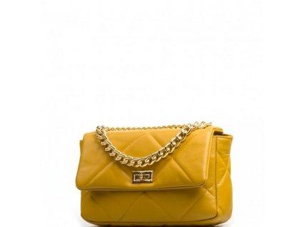 Kožená prošívaná kabelka Stacy hořčicově žlutá