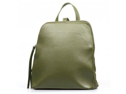 Kožený batůžek Alcina olivově zelený