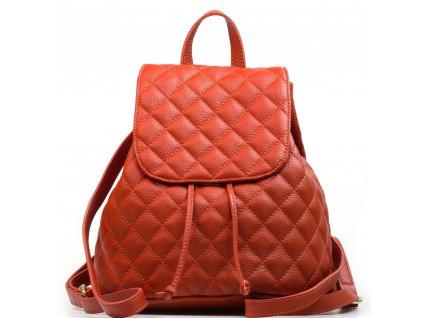 Kožený prošívaný batůžek Lauren oranžový
