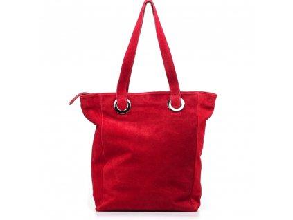 Kožená maxi kabelka Aurelia vínově červená