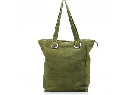 Kožená maxi kabelka Aurelia zelená