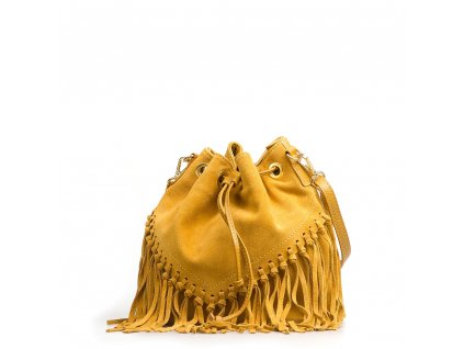 Kožená kabelka Kelly hořčicově žlutá