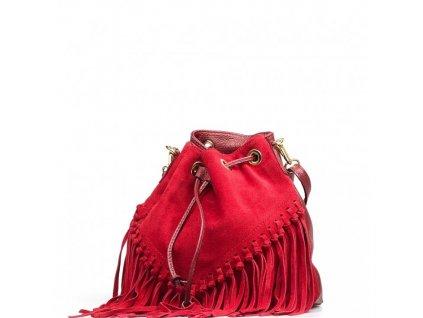 Kožená kabelka Kelly červená