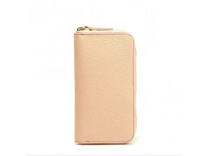 Dámská kožená peněženka růžová