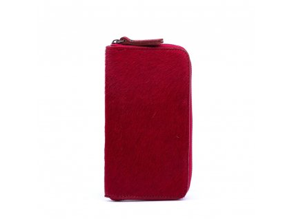 Kožená peněženka Pina s kožešinou vínová