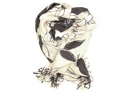 Dámský pašmínový šál Zita bílo-šedý