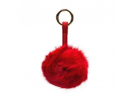 Kožešinový přívěsek na kabelku červený
