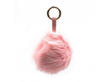 Kožešinový přívěsek na kabelku růžový