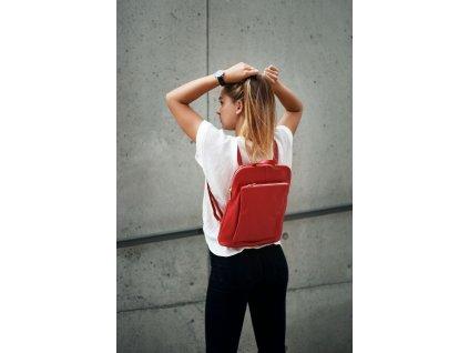 Kožený batůžek - kabelka Patricia červený