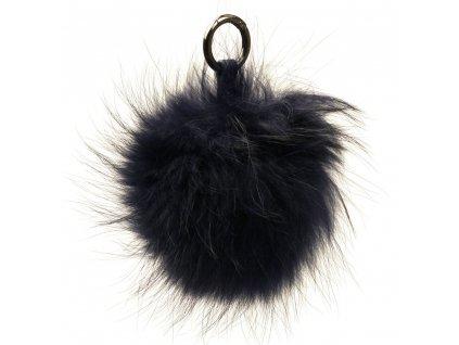 Kožešinový přívěsek na kabelku tmavě modrý
