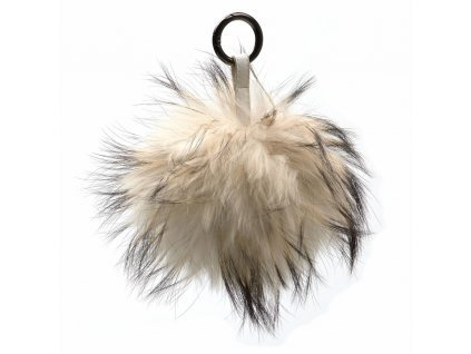 Kožešinový přívěsek na kabelku béžový