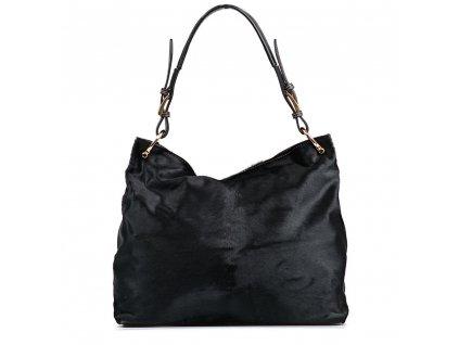 Kožená kabelka s kožešinou Gaia černá