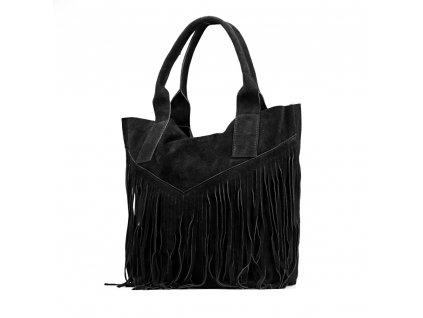 Kožená kabelka s třásněmi Bora černá