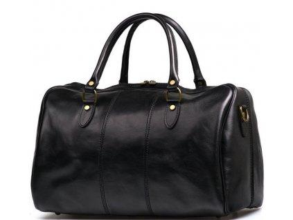 Kožená cestovní taška Verity černá