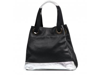 Kožená kabelka Marlen černo-stříbrná