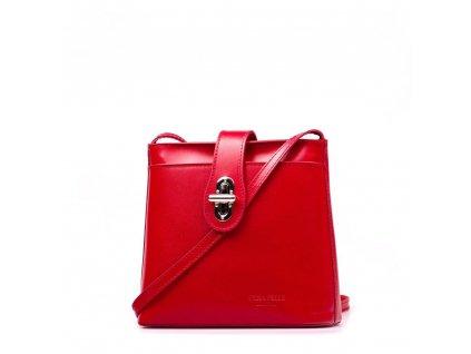 Kožená crossbody kabelka Claire červená