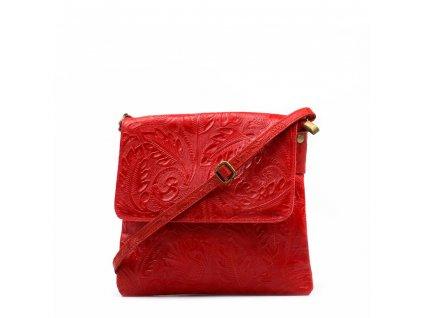 Kožená crossbody kabelka Linda červená
