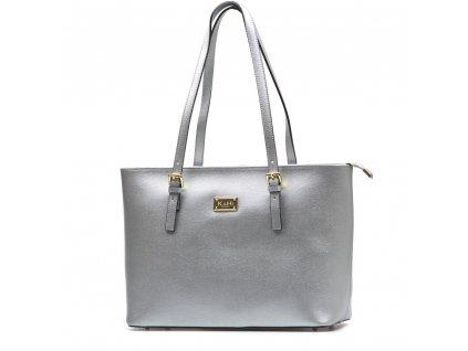 Kožená kabelka Raisa stříbrná