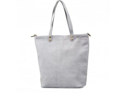 Kožená kabelka shopper Luna světle šedá