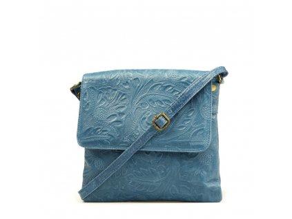 Kožená crossbody kabelka Linda džínově modrá