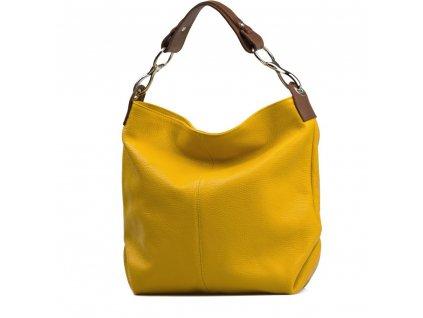 Kožená kabelka Cira hořčicově žlutá