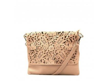 Kožená kabelka Melisa pudrově růžová