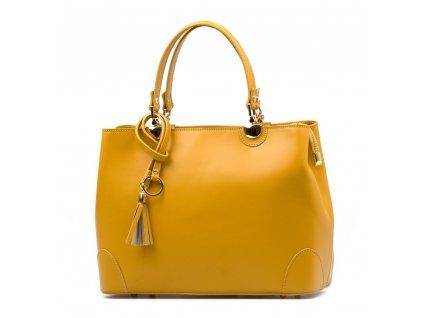 Kožená kabelka Grazia hořčicově žlutá