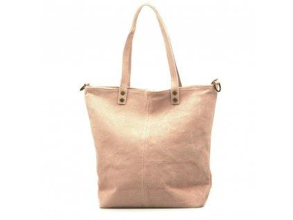 Kožená kabelka shopper Luna růžová
