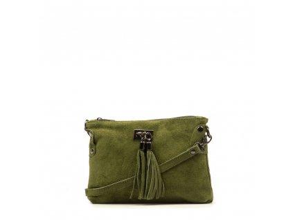 Kožená crossbody kabelka Nives olivově zelená