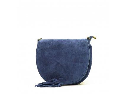 Kožená crossbody kabelka Mirea džínově modrá