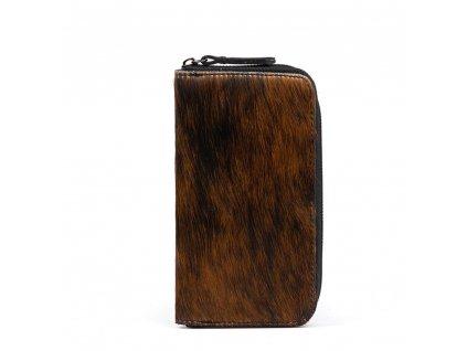 Kožená peněženka Pina s kožešinou hnědá
