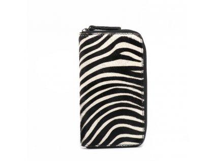 Kožená peněženka Pina s kožešinou černo-bílá