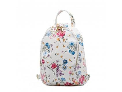 Kožený batůžek Tessa bílý s motivem květů