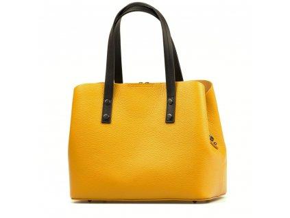 Kožená kabelka Fabia hořčicově žlutá