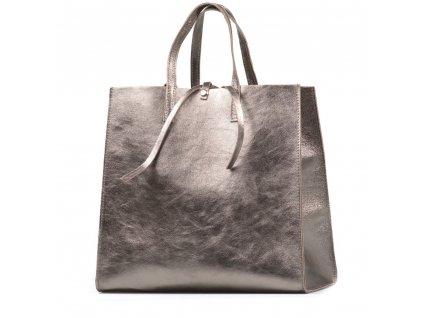 Kožená kabelka Belinda kovově stříbrná