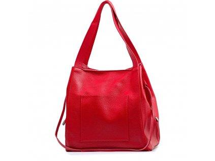 Kožená maxi kabelka Annie červená