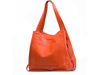 Kožená maxi kabelka Annie oranžová