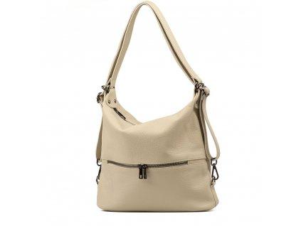 Kožená kabelka - batůžek Ivora béžová