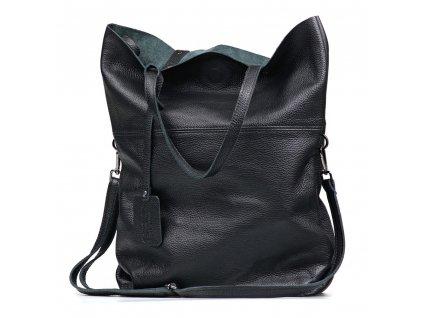 Kožená maxi shopper kabelka Rosine černá